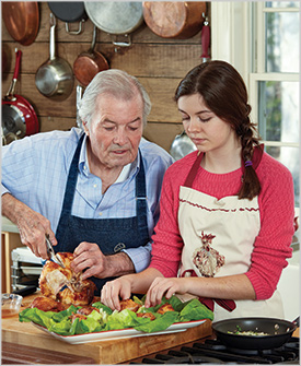 Jacques Pepin and granddaughter