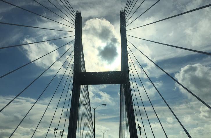 The beautiful Talmadge Memorial Bridge into Savannah.
