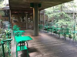 Outdoor seating area for the cafe at Fallingwater