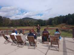 Giving a talk on lavender and humanity at Soleado Lavender Farm.