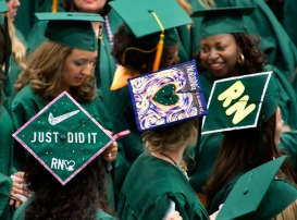 Many nursing graduates at Frederick Community College decorated their mortar boards for their graduation ceremonies Thursday evening at FCC. Staff photo by Sam Yu